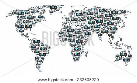 Geographic Atlas Pattern Done Of Projector Elements. Vector Projector Elements Are Composed Into Mos
