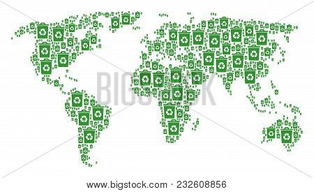 Worldwide Atlas Concept Done Of Recycle Bin Icons. Vector Recycle Bin Items Are Organized Into Geome