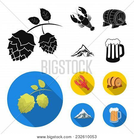 Alps, A Barrel Of Beer, Lobster, Hops. Oktoberfest Set Collection Icons In Black, Flat Style Vector