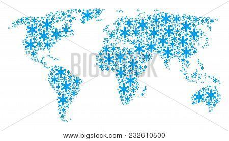 World Atlas Pattern Composed Of Snowflake Design Elements. Vector Snowflake Design Elements Are Comb