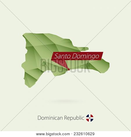 Green Gradient Low Poly Map Of Dominican Republic With Capital Santo Domingo