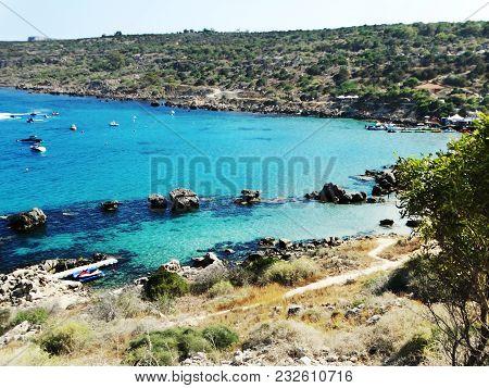 Sandy Beach Coast In The Mediterranean Sea Landscape On Cyprus Island