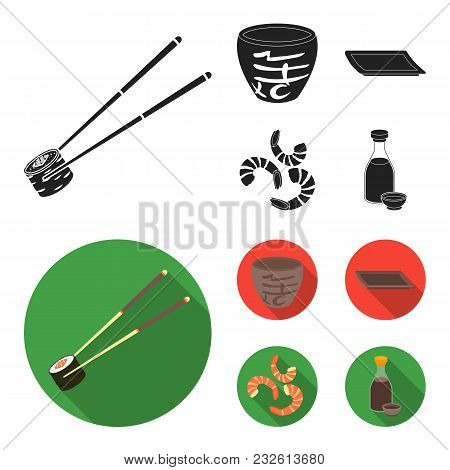 Sticks, Shrimp, Substrate, Bowl.sushi Set Collection Icons In Black, Flat Style Vector Symbol Stock