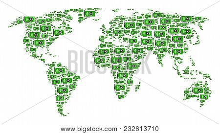 Global World Map Concept Composed Of Video Gpu Card Icons. Vector Video Gpu Card Icons Are Organized