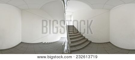 Spherical 360 Degrees Panorama Projection, Panorama In Interior Empty Corridor With A Flight Of Stai