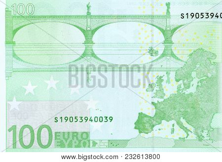 Back Side Of 100 Euro - Macro Fragment Banknote. High Resolution Photo.