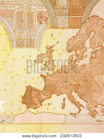 Euro Banknote In A Macro Shot. High Resolution Photo.