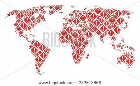 Continent Map Pattern Constructed Of Warning Pictograms. Vector Warning Elements Are Composed Into C