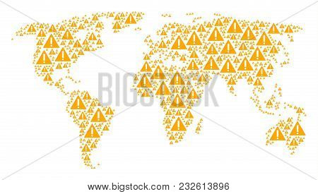 International Map Concept Designed Of Warning Design Elements. Vector Warning Items Are Composed Int