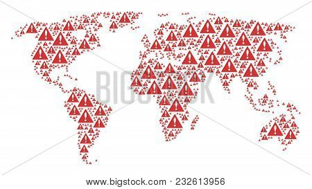 Geographic Map Pattern Constructed Of Warning Design Elements. Vector Warning Icons Are United Into