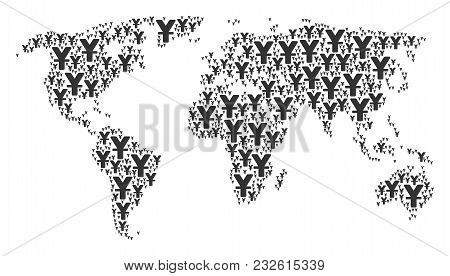 Continent Atlas Collage Created Of Yuan Pictograms. Vector Yuan Elements Are Organized Into Geometri