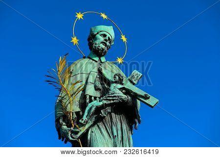 Czech, Prague, Gothic Sculpture Of Statue Of John Of Nepomuk On The Charles Bridge. Prague, Medieval