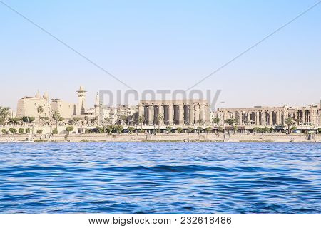 Luxor, Egypt, Architecture Of Luxor, City On The River Nile. Nile Is 6, 853 Km Long. The Nile Is An