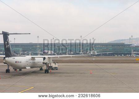 Zurich, Switzerland - December 29, 2017: Fog In The Kloten Airport Or Zurich International Airport.