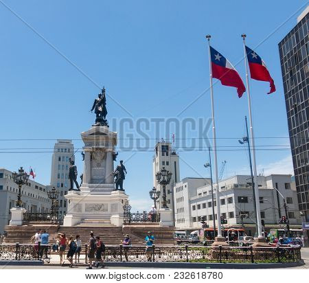 Valparaiso, Chile - January 2,2018: Monument To The Heroes Of The Naval Combat Of Iquique In 1879 An