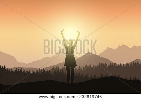 Young Woman In Dress With Raised Hands In Mountain Landscape With Forest In Sunshine - Vector