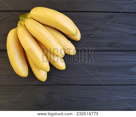 Ripe Bananas On A Black Wooden Group, Image, Still, Delicious, Bunch, Yummy, Peel,