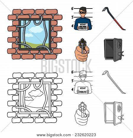 Photo Of Criminal, Scrap, Open Safe, Directional Gun.crime Set Collection Icons In Cartoon, Outline