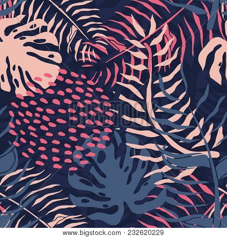 Tropical Seamless Pattern With Palm Leaves. Summer Floral Pattern With Pink Palm Leaves And Monstera