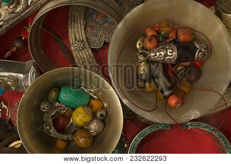 Ancient Buddhist Jewelry, Amulets: In Stone Pialas Beads Amulets, Coral, Turquoise Amber