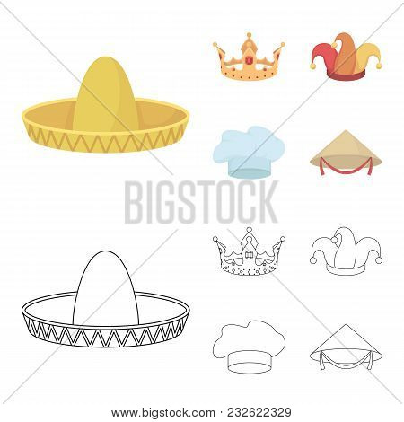Crown, Jester Cap, Cook, Cone. Hats Set Collection Icons In Cartoon, Outline Style Vector Symbol Sto