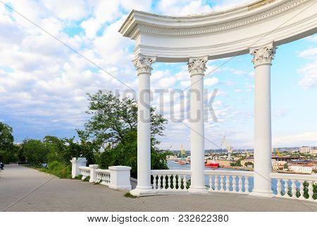 Sevastopol, Rotunda Overlooking The Southern Bay, The Crimea, Russia.