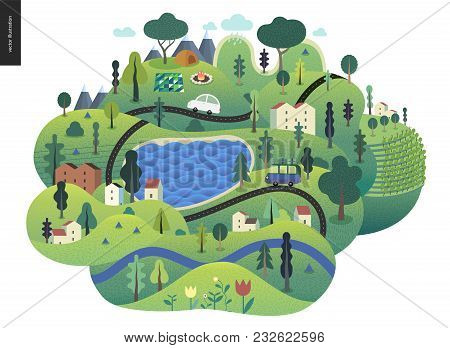 Magical Summer Landcape - Green Island With Lake, Hills, Roads, Cars, Houses And Trees, With Mountai
