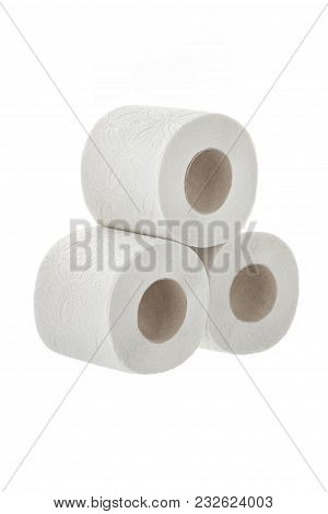 Toilet Paper On A White Background Isolated