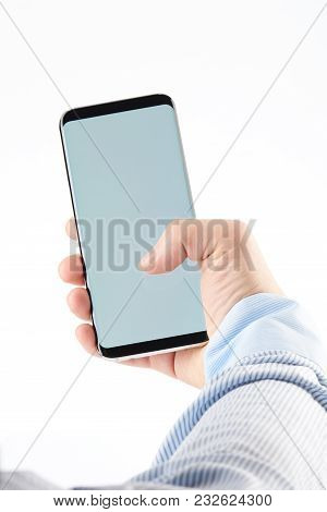 Using Modern Smartphone With One Hand Isolated On White Background