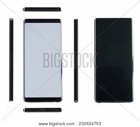 Generic Black Modern Smartphone All Views Isolated On White Background