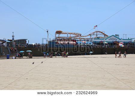 Santa Monica, California, Usa - July 11, 2017: The Santa Monica Pier - The End Of Route 66  - A 100
