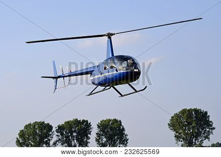 This Picture Shows A Helicopter During The Flight