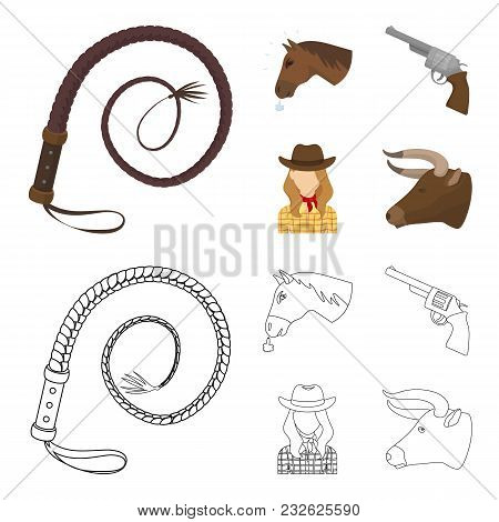 Head Of A Horse, A Bull Head, A Revolver, A Cowboy Girl.rodeo Set Collection Icons In Cartoon, Outli