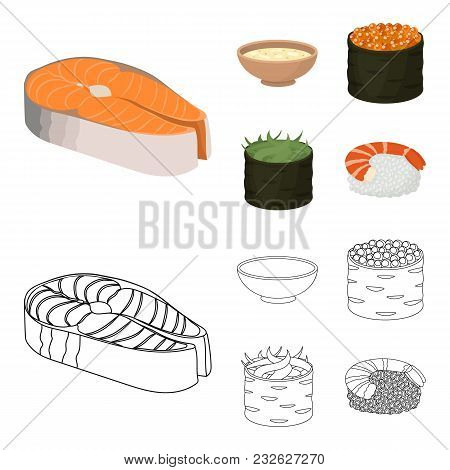 Bowl Of Soup, Caviar, Shrimp With Rice. Sushi Set Collection Icons In Cartoon, Outline Style Vector