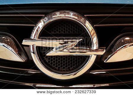 Tarnow, Poland - October 28, 2017: New Opel Emblem On A Car Grill. Opel Is A Famous German Automobil