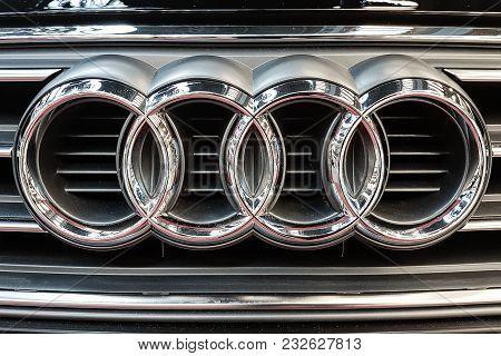 Lubin, Poland - November 17, 2017: Audi Emblem On A Car Grill. Audi Is A German Automobile Manufactu