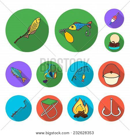 Fishing And Rest Flat Icons In Set Collection For Design. Tackle For Fishing Vector Symbol Stock  Il