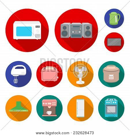 Types Of Household Appliances Flat Icons In Set Collection For Design.kitchen Equipment Vector Symbo