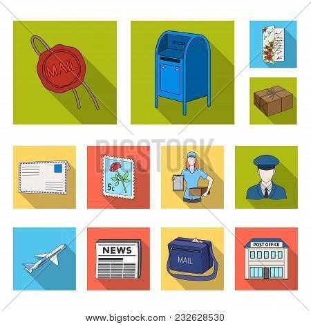 Mail And Postman Flat Icons In Set Collection For Design. Mail And Equipment Vector Symbol Stock  Il