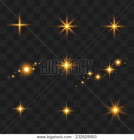 Light Flashes. Sun Beams And Star Lights Isolated Icons On Transparent Background. Vector Set Of Shi