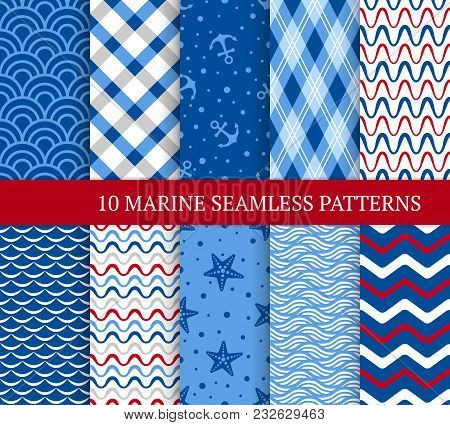 Ten Marine Different Seamless Patterns. Vector Illustration For Nautical Design. Endless Texture Can