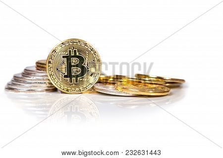 Conceptual Cryptocurrency Bitcoin On White Background