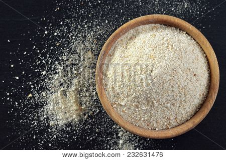 Bread Crumbs In Wooden Bowl, Top View