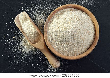 Top View Of Bowl Of Bread Crumbs