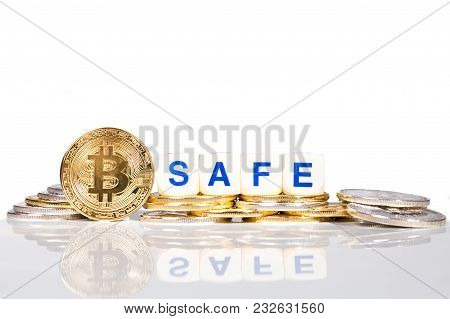Conceptual Cryptocurrency Bitcoin With The Word Safe