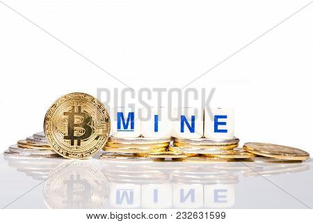 Conceptual Cryptocurrency Bitcoin With The Word Mine