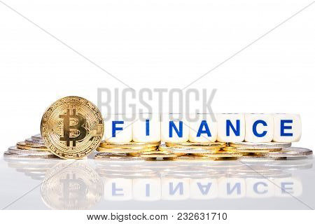 Conceptual Cryptocurrency Bitcoin With The Word Finance