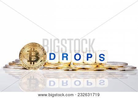 Conceptual Cryptocurrency Bitcoin With The Word Drops
