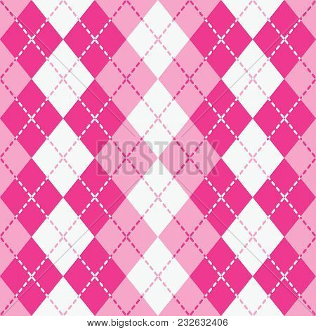 Seamless Argyle Pattern With Dashed Lines In Pink And White.