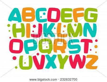 Kids Alphabet, Colorful Cartoon Font, Kid Letters Set, Play Room Funny Design Element, Kids Zone Vec